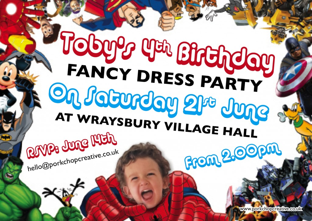 Kids Fancy Dress Party Invites | Porkchop Creative